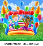 two children  a boy and girl ... | Shutterstock .eps vector #382585960