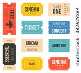 ticket set for cinema  concert  ... | Shutterstock .eps vector #382629364