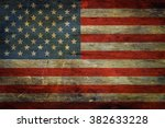 american flag on grunge wooden... | Shutterstock . vector #382633228