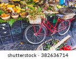 Fruit Market With Old Bike In...