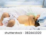 neonatal jaundice. newborn was... | Shutterstock . vector #382661020
