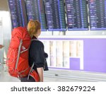 young woman with backpack in... | Shutterstock . vector #382679224