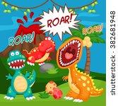 roaring tyrannosaurus | Shutterstock .eps vector #382681948