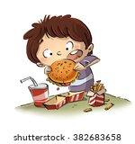 child eating a hamburger   Shutterstock . vector #382683658