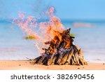 burning firewood on the seashore | Shutterstock . vector #382690456