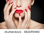 closeup of face and hands with... | Shutterstock . vector #382690483