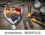 healthy lifestyle concept with... | Shutterstock . vector #382697113