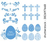vintage easter set. collection... | Shutterstock .eps vector #382697668