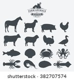 vector farm animals and seafood ... | Shutterstock .eps vector #382707574
