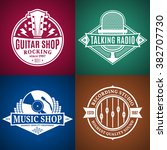 set of vector music logo. music ... | Shutterstock .eps vector #382707730