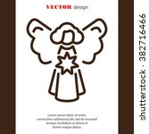 web line icon. angel with star  ... | Shutterstock .eps vector #382716466