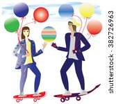 girl and guy skateboarding air... | Shutterstock . vector #382726963
