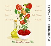 tomato sauce ingredients... | Shutterstock .eps vector #382742158
