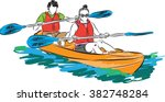 Couple Man And Woman In Kayak...