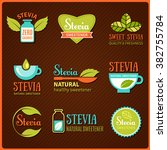 vector set of stevia labels ... | Shutterstock .eps vector #382755784