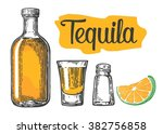 glass and bottle of tequila ... | Shutterstock .eps vector #382756858