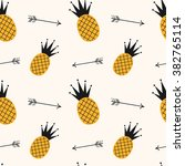 yellow black pineapple seamless ... | Shutterstock .eps vector #382765114
