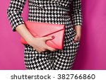 fashionable woman with a red... | Shutterstock . vector #382766860
