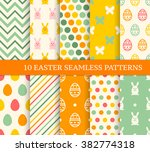 ten retro different easter... | Shutterstock .eps vector #382774318