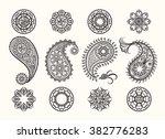 henna tatoo paisley icons set.... | Shutterstock .eps vector #382776283