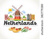 travel netherlands header card   Shutterstock .eps vector #382779280