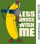 dance and cartoon banana vector ... | Shutterstock .eps vector #382780153