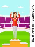 athlete with medal and hands... | Shutterstock .eps vector #382801090