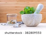fresh herbal leaves basil  sage ... | Shutterstock . vector #382809553