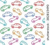 cars doodles seamless pattern | Shutterstock .eps vector #382815490