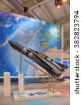 Small photo of ZHUKOVSKY, RUSSIA - AUG 26, 2015: The German Aerospace Center. A model of the SpaceLiner is a hypersonic suborbital Intercontinental aircraft at the International Aviation and Space salon MAKS-2015