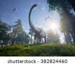 diplodocus browsing a selection ... | Shutterstock . vector #382824460