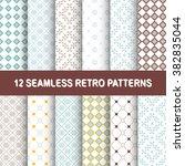 set of 12 seamless vector retro ... | Shutterstock .eps vector #382835044