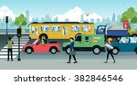 cars with traffic jams in the... | Shutterstock .eps vector #382846546