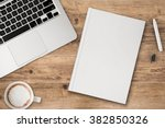 office desk top view with blank ... | Shutterstock . vector #382850326