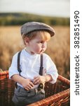Small photo of little boy traveler standing in the basket aerostat, in field