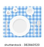 tableware. empty plate with... | Shutterstock .eps vector #382860520