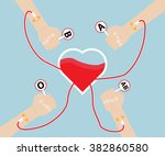 donate blood to heart shape... | Shutterstock .eps vector #382860580