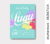 luau invitation with floral... | Shutterstock .eps vector #382867114