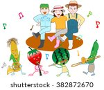 vegetables play music and are... | Shutterstock .eps vector #382872670