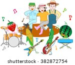 vegetables play music and are... | Shutterstock .eps vector #382872754