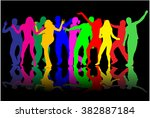 dancing people silhouettes. | Shutterstock .eps vector #382887184