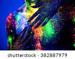 people are colored fluorescent... | Shutterstock . vector #382887979