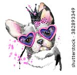 Stock photo cute dog watercolor illustration for fashion print poster for textiles fashion design t shirt 382893349