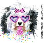cute dog watercolor... | Shutterstock . vector #382893394