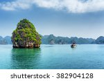 scenic karst isle and tourist... | Shutterstock . vector #382904128