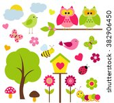 vector set of spring theme.... | Shutterstock .eps vector #382906450