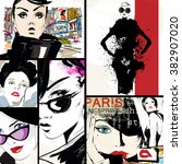 fashion collage with freehand... | Shutterstock . vector #382907020