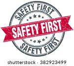 safety first red round grunge... | Shutterstock .eps vector #382923499