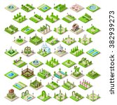vector isometric buildings city ... | Shutterstock .eps vector #382939273