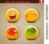 vector set of emoticons.  | Shutterstock .eps vector #382946869